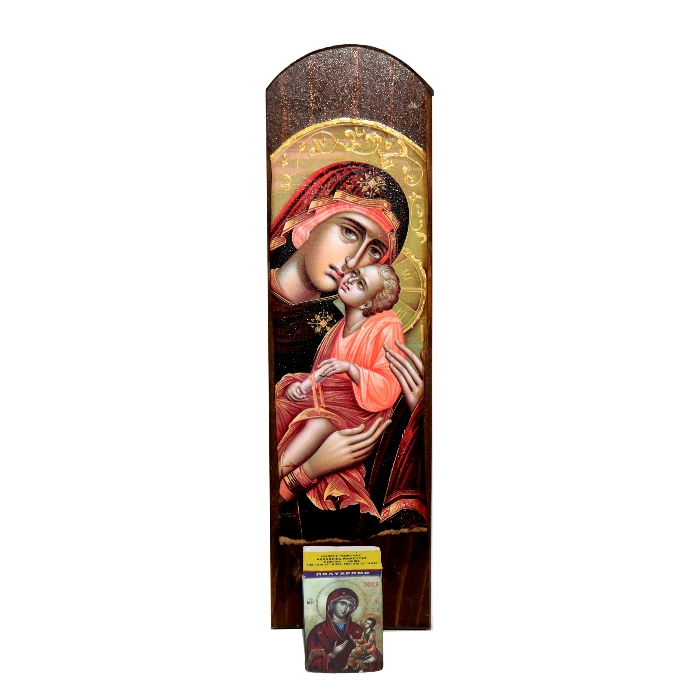WOODEN ICON VIRGIN MARY & JESUS CHRIST WALL CALENDAR 2